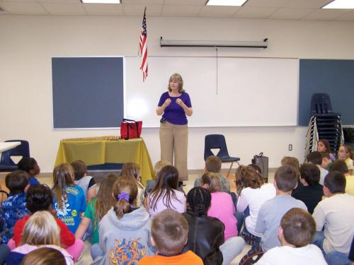 Molino Elementary students listen to Peggy speak