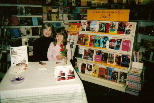 With a young fan at Waldenbooks